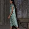 HEIMAT_PANELED HIGHNECK DRAWSTRING DRESS MOSS GREEN_3